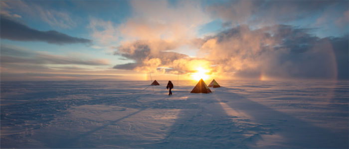Camping in the Antarctica