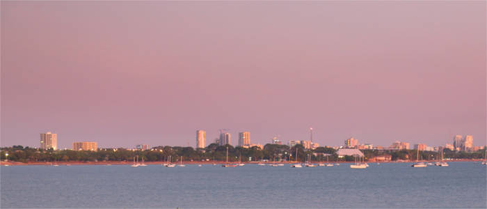 Darwin in the evening at sunset