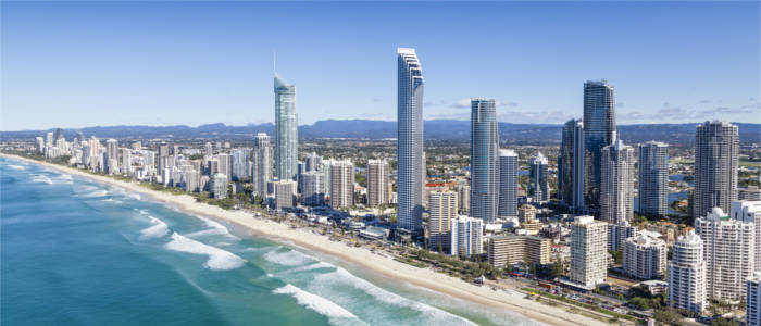 View of the big city of Gold Coast