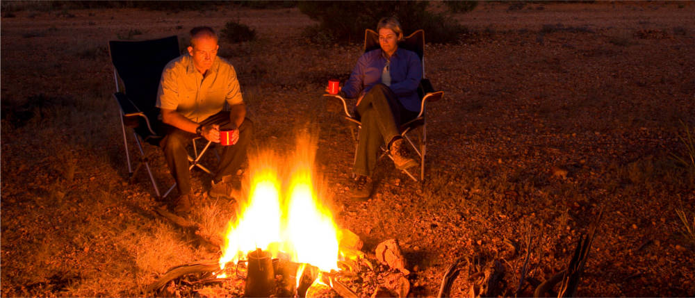 Campfire in the Golden Outback