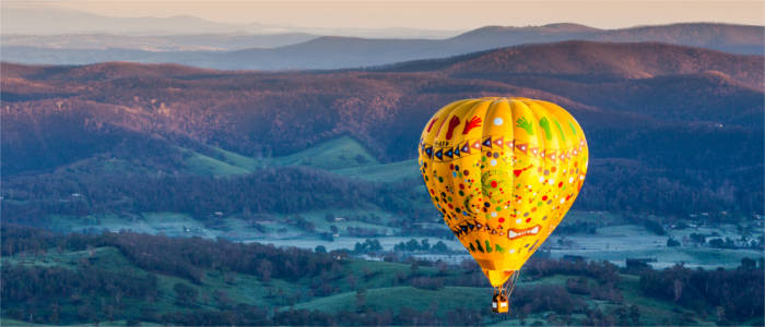 Hot-air balloon in the Yarra Valley