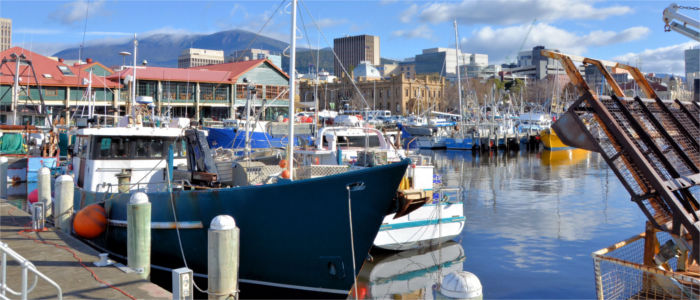 Seaside town Hobart in Tasmania