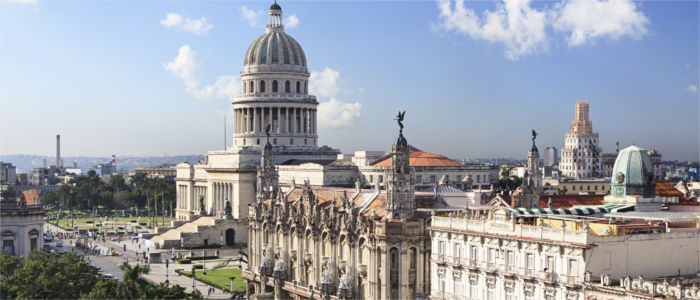 The Capitolio Nacional and the Great Theatre in Havana in Cuba