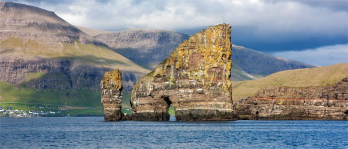 Bizarre rocks before the Faroe Islands