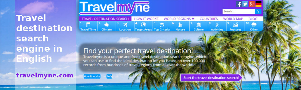Travel destination search in English