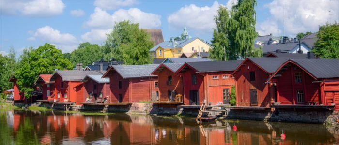 Wooden houses in Provoo in Finland