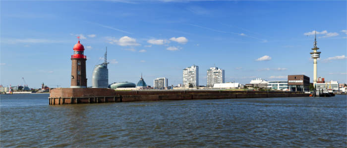 Bremerhaven with the historical lighthouse