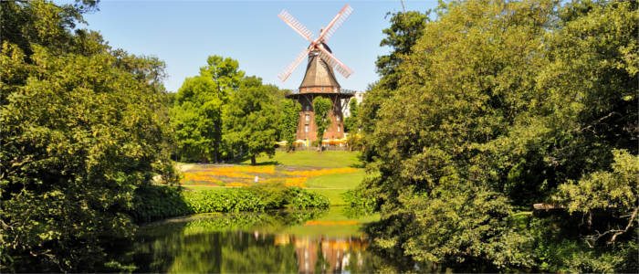 Park with windmill in Bremen
