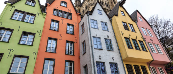 Colourful houses in Cologne's old town