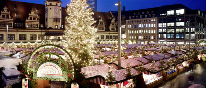 Christmas market on the market square in Leipzig