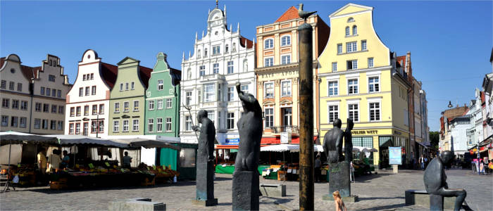 Rostock's market square with historical houses