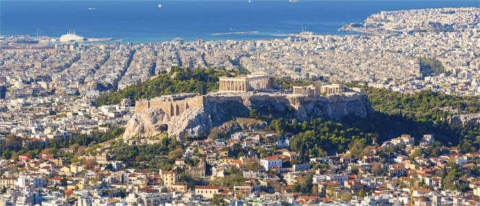 The capital of Athens in the region of Attica