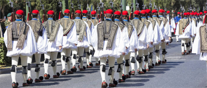 The presidential guard of the Evzones in the streets of Athens