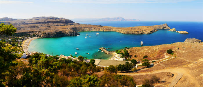 Bay with beach in Lindos