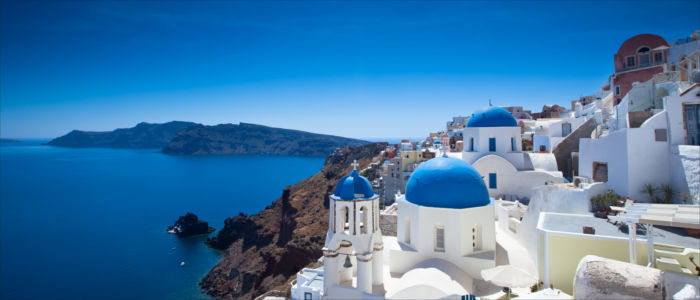 Houses of Fira on Santorini in Greece