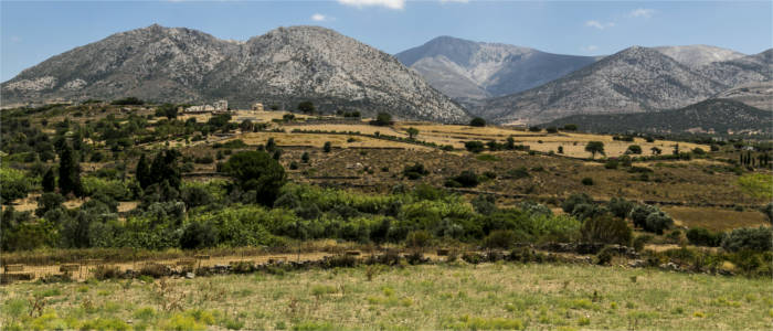 Mountains and meadows on the island of Naxos