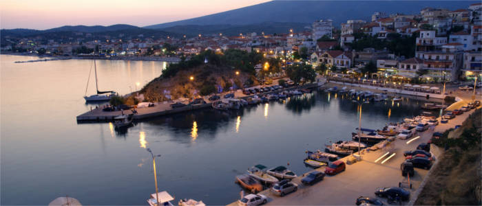 Evening in the capital of Thasos