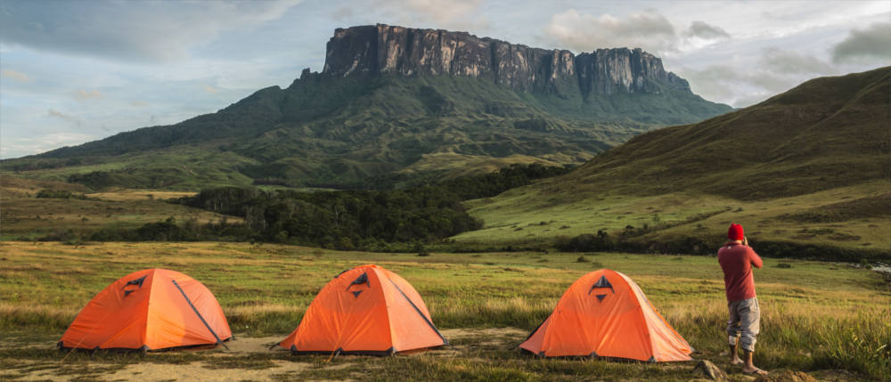In Guyana's mountainous region with a tent