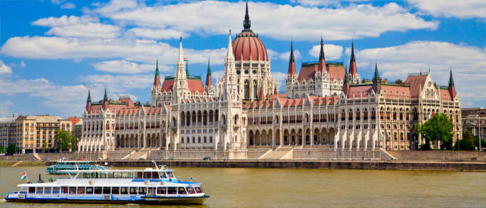 The Hungarian Parliament in Budapest at the Danube