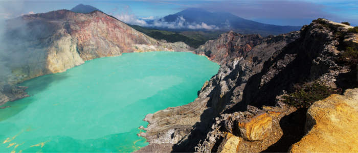 Colourful crater lakes in Indonesia
