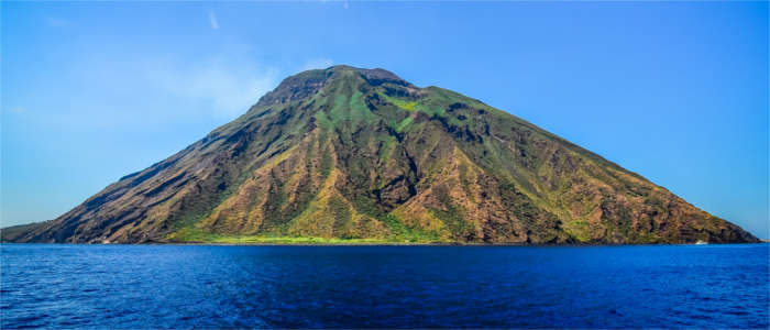Famous volcano on the Aeolian Islands