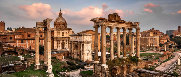 The Roman Forum in Rome in Italy