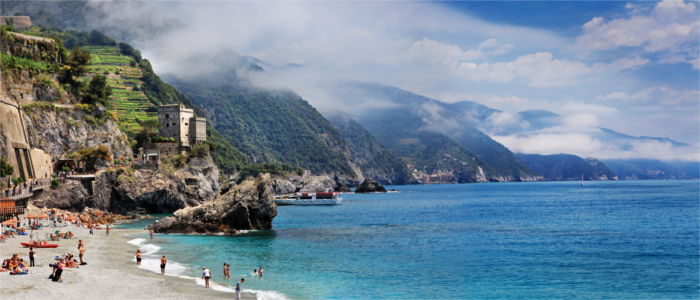 Beach at the sea of Monterosso in Italy