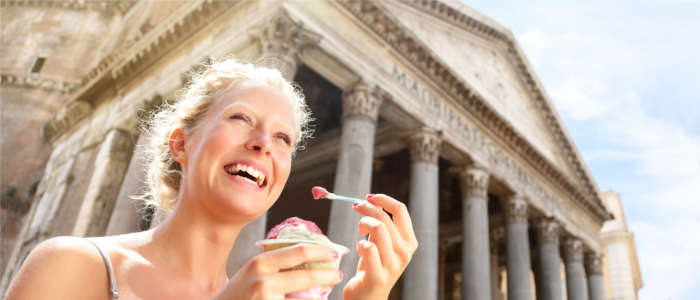 Eating ice cream in Rome