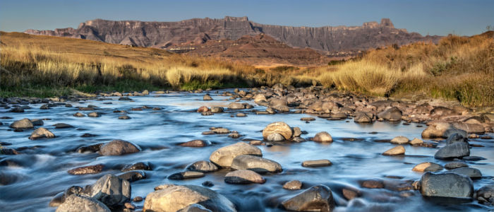Drakensberg at the river in Lesotho