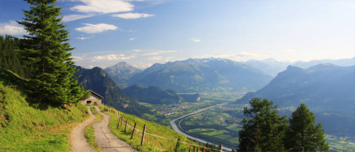 Mountains and valleys in Liechtenstein