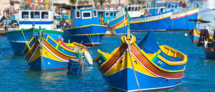 Luzzus - traditional Maltese fishing boats