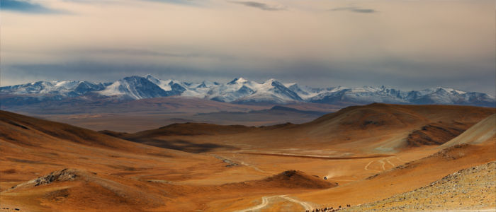 Mountains and vast plains in Mongolia
