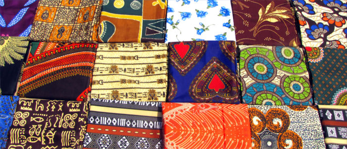 Characteristic local fabrics on a market in Mozambique