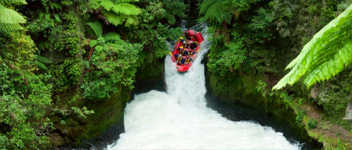 Rafting in Kaituna River in New Zealand