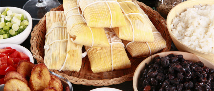 Eating tamales in Panama