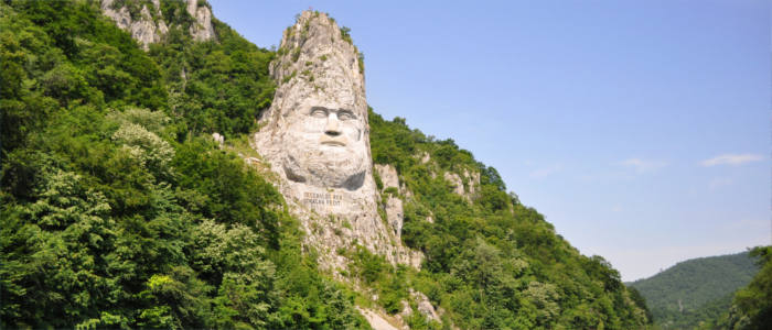 Rock sculpture of Decebalus in Romania