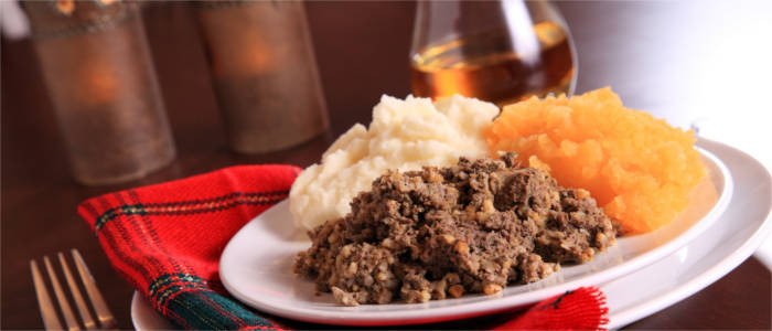Haggis with mashed carrots and potatoes