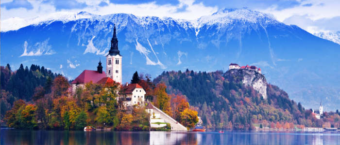 Slovenia's Alps behind Lake Bled