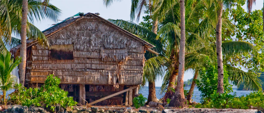 Typical huts on the Solomon Islands
