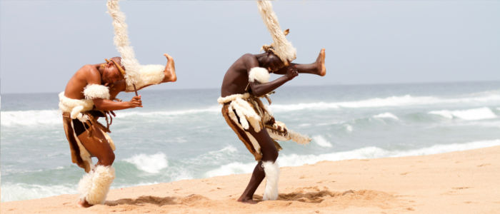 Zulu dancers at the beach of South Africa