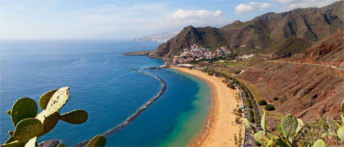 Beach and mountains on the Canary Islands