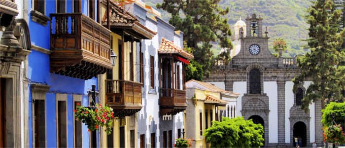 Colourful houses in Teror on the Canary Islands