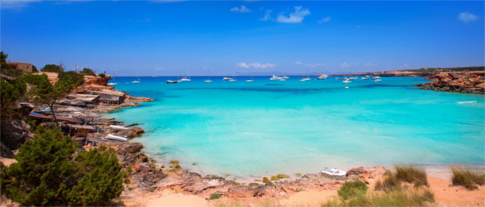 Turquoise blue sea and sandy beach on Formentera