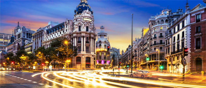 Madrid's streets at night
