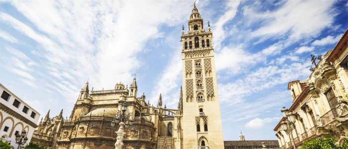 Moorish tower and the Cathedral of Seville