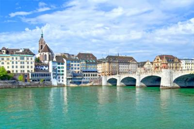 Basel with the Mittlere Brücke and Basel Minster