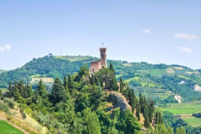 Landscape of Emilia-Romagna with local architecture