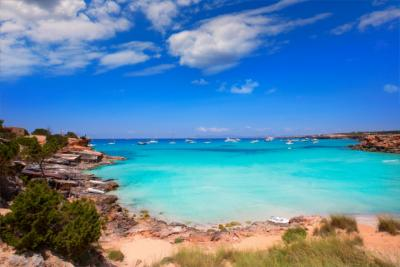beach, clear water and sun on Formentera