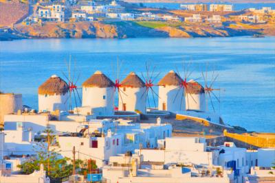 The characteristic windmills on Mykonos