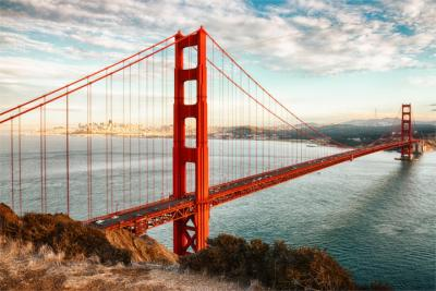 Famous red bridge in San Francisco